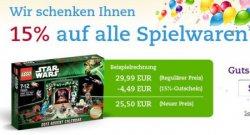 15% Rabatt auf alle Spielwaren bei Thalia, z.B. günstige Lego Artikel