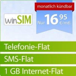 16,95 €/Monat winSIM Flat (Telefonie-, SMS-, 1-GB-Datenflat, monatl. kündbar, o2) für 15,90 € Anschlussgebühr @amazon.de