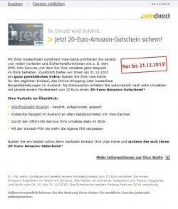 20€ Amazon Gutschein bei 10x Bezahlung mit der Comdirect-Visa-Karte
