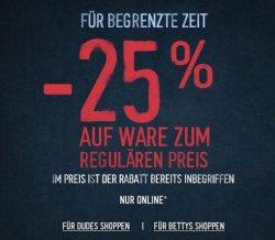 25% Rabatt auf fast alles bei Hollister