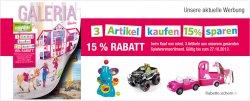 3 Artikel aus Spielwarensortiment kaufen und 15% sparen, zusätzlich noch bis zu 15€ Rabatt @ Galeria Kaufhof