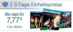 3 Tage Einheitspreise bei amazon: Blu-rays für 7,77€, Blu-ray-Doppelpacks für 8,88€, Premium-Collections für 13,13€