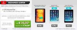 3GB Surf-Flatrate (Vodafone) + Samsung Galaxy Note 10.1 oder iPad Air oder iPad mini 2 @sparhandy.de