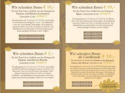 4  Gutscheine im Wert von insgesamt 35 Euro im Fashion-Shop Breuninger.com