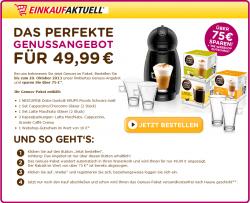 Dolce Gusto für nur 49,99€ inklusive 4 Gläser, 3 Kapselpackungen und Webshop-Gutschein im Wert von 10€