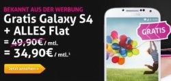 Galaxy S4 gratis mit Alles-Flat & 25 € Gutschrift für Rufnummernmitnahme für 34,90 €uro im Monat @Preis24.de