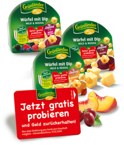 Grünländer Käsewürfel mit Dip 3x gratis (ca. 6 Euro gespart)