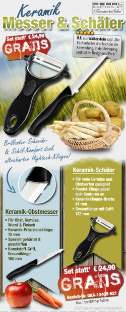 Keramikmesser & Keramikschäler GRATIS(Wert 24.90 €), gratis @ pearl, zzgl. VK
