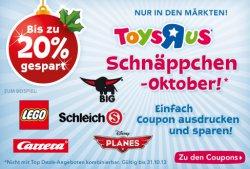 Lokal: Toys R Us Schnäppchen Oktober: mehrere Coupons, z.B. 20% auf einen Lego Artikel…