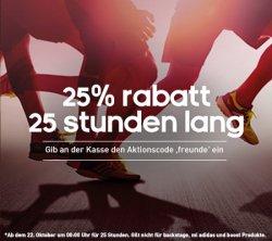 Nur 25 Stunden 25% Rabatt mit Gutscheincode @Adidas.de