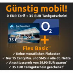 o2 SIM (ohne Grundgebühr) + 35€ Aral-Gutschein kostenlos! @Crash-Tarife.de