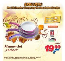 Offline, Real-Deal des Tages, Mittwoch, 3-teiliges Pfannenset Farbori für 19 €uro im Real Markt