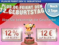 Plus.de wird 12 Jahre und feiert mit einem 12 Euro oder 12% Gutschein, MBW 60€ bzw. 0€