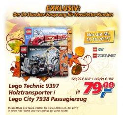 real-Deal am Mittwoch: Lego Technik Holztransporter (93897) oder Lego City Flugzeug (7938) für 79 €uro