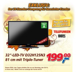 [Lokal] real-Deal am Samstag,Telefunken LED TV (81cm) mi Trible-Tuner für 199 €uro
