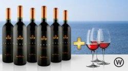 Rotweinpaket (6 Flaschen), exclusiv mit 46 % Rabatt für 39,90 & 3 Weingläster GRATIS dazu, Frei Haus Lieferung