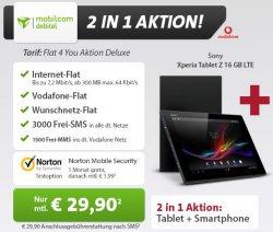 Sony Xperia Tablet und Smartphone für 718 Euro (statt 921 Euro Idealo) bei Sparhandy