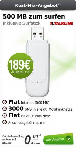 Surfstick 500mb Flat für 24 Monate rein Rechnerisch für 0€