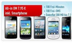 Vodafone oder O2 Vertrag mit Smartphone oder 50€ Gutschein nur 7,97€: 100 Min. Alle Netze, 100 SMS, 300 MB Flat