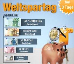 Weltspartag bei plus.de: Bis zu 100 €uro sparen & versandkostenfrei, Aktion bis zum 01.11.2013