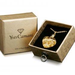 Yves Camani Glas Herz Anhänger gefüllt mit 999.9 Gold für 19,99 Euro (statt 29 Euro Idealo) bei eBay