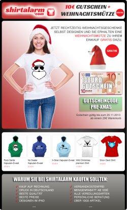 10 €uro Gutschein ( ab 25 € Warenwert) & Weihnachtsmütze gratis @ shirtalarm.com