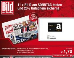 11 x Bild am Sonntag frei Haus + 20€ Amazon Gutschein bei Bankeinzug nur 13,70€ ! bei Axel Springer