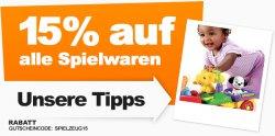 15% Rabatt auf Spielwaren mit Gutschein @hertie.de