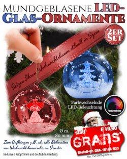 2 mundgeblasene LED-Weihnachtskugeln, GRATIS @ pearl, Versandkosten 4,90  €uro
