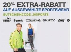 20% Rabatt mit Gutscheincode auf ausgewählte Sportswear @Amazon