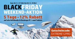 5 Tage Black Friday bei HP mit 12% Rabatt auf alle Notebooks, Desktop PC's und Tablets