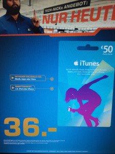 [Lokal] 50€ iTunes Guthaben-karte für nur 36€ – Lokal bei Saturn – Nachlass ca. 28%!