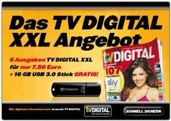 6 Ausgaben TV DIGITAL + 16 GB USB Stick Gratis für 7,50€ @ Leseshop24