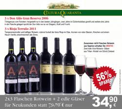 6x spanischer Wein + 2x Kristallgläser für 34,90€