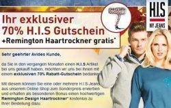 70% HIS-Jeans Gutschein und Haartrockner gratis