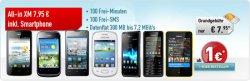 Acer, Huawei, Samsung, Sony oder Nokia Smartphone ab 1 Euro Zuzahlung im All-in XM Tarif für nur 7,95 Euro monatlich @handybude.de