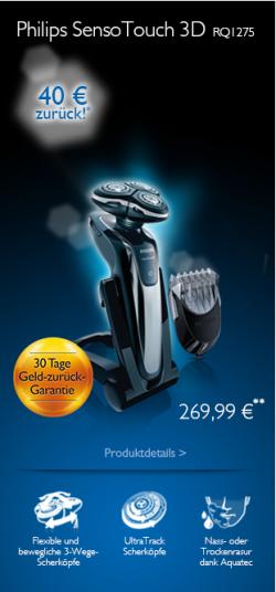 Bis zu 40 € Cashback auf ausgewählte Philips Senso-Touch-Rasierer