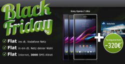 Black Friday Smartphone-Deal bei modeo.de: Sony Xperia Z Uktra + 320€ Tankgutschein + Vodafone Vertrag (Kosten: 34,90€ im Monat)