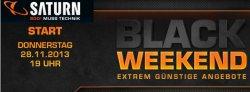 Black Weekend bei Saturn.de von Donnerstag 19 Uhr bis Montag 9 Uhr