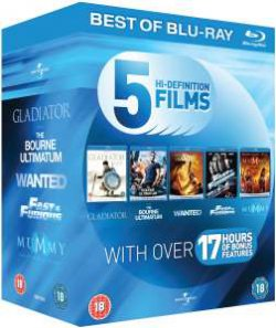 Blu-Ray Starter Pack: Gladiator / The Bourne Ultimatum / Wanted / Fast and Furious / The Mummy: Tomb of the Dragon Emperor Blu-ray  für 16,01€ bei zavvi.com