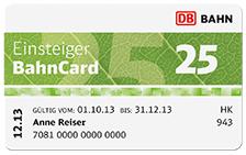 DB – 3 Monate 25% sparen mit der Einsteiger BahnCard 25  für 19€ @bahn.de