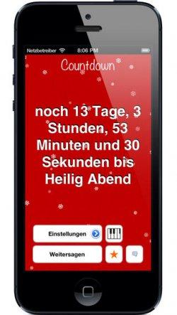 Der Weihnachten Countdown, Gratis App mit über 10 Weihnachtsliedern @ itunes