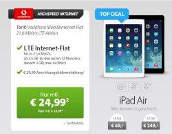 iPad Air im LiveDeal bei Sparhandy mit LTE Internet-FLat für nur 24,99€ im Monat + einmalige 69€ für das Gerät