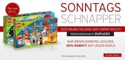 Lego Duplo : 20% auf Alles bei karstadt.de mit Gutschein – nur bis heute!