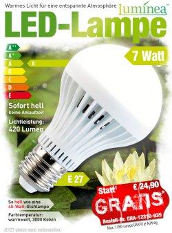 Mitbestelltip @ pearl, LED Lampe 7 Watt, GRATIS ( statt 24,90 €), nur Versandkosten