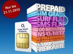 O2 Loop Freikarte: Gratis Prepaid-SIM, 50 Freiminuten, SMS-Flat & Surf-Flat, nur 9,99€ mtl.