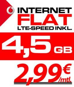 Vodafone Mobile LTE Internet Flat 21,6Mbits/4,5GB Volumen nochmal reduziert auf 2,99€ für Selbständige und Studenten sogar 0€ @ebay.de