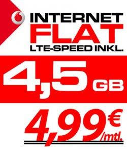 Vodafone Mobile LTE Internet Flat 21,6Mbits/4,5GB Volumen NUR 4,99€ für Selbständige und Studenten sogar 0,00€ siehe link im Beschreibung dank Auszahlung@ebay.de