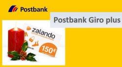 Wieder da! Das kostenlose Girokonto + kostenlose VISA bei der Postbank – jeder Neukunde erhält einen 150€ Zalando Gutschein – nur bis Montag @postbank.de