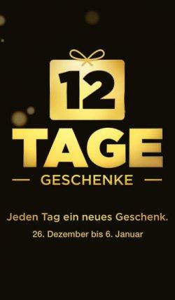 12 Tage Geschenke vom 26.12. – 06.01.14, jeden Tag 1 Geschenk laden @ iTunes, Songs, Apps, Bücher